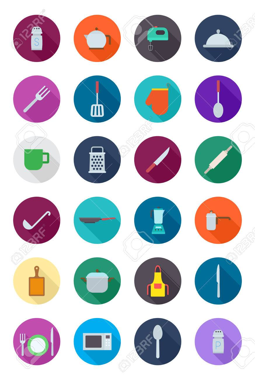 Set of 24 kitchen items round vector icons - 56725801