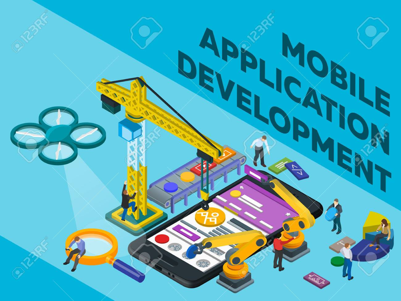 Mobile App Development  Flat 3d isometric mobile UI web design