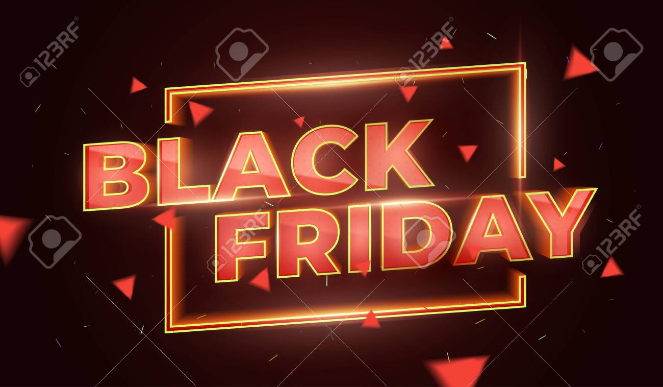Black Friday Sale Promotion Poster or banner. Social Media Banner Design Template. 3d inscription with highlights and sparks of gold and red colors. Discount and promotion banner. Vector Illustration - 132656675