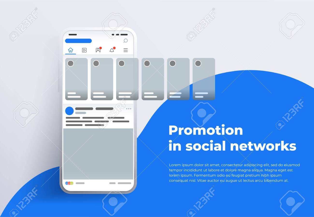 Promotion in social media. Smartphone with interface carousel post on social network. Stories in social networks. Design template from landing page or banner. Modern white smartphone 2019 - 132823962