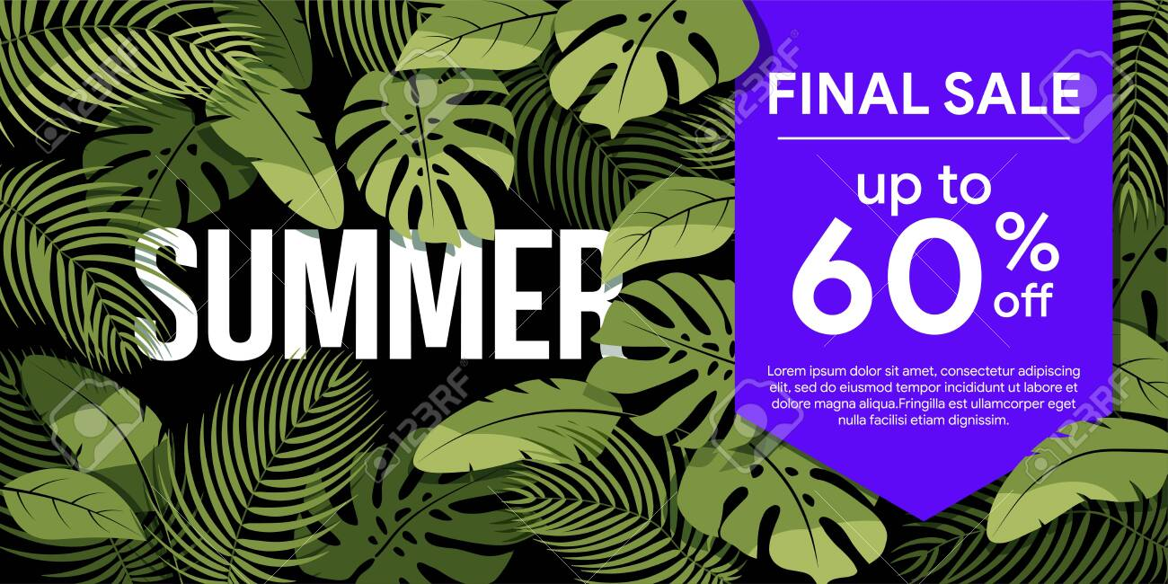 Final sale up to 60% off Green tropical leaves on a black background. Summer floral frame with tropical plants. Sale banner, poster with palm leaves and hibiscus. Discount background - 132655783