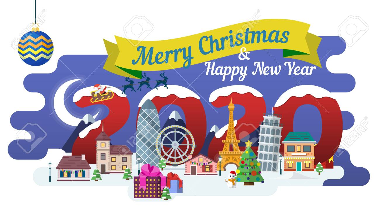 Travel to Europe. The winter holiday. Happy New Year 2020. New Year and winter travel background. Christmas winter landscape. Santa Claus, ribbon and Christmas balls. Vector illustration. - 137734862