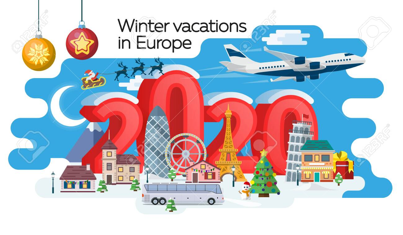 New Year 2020 winter travel banner. Christmas travel, Europe winter town, snow village. Traveling by plane and bus. The winter vacation. Santa Claus. Vector image - 137734864