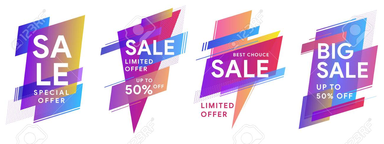 Set of colored stickers and sale banners. Flat geometric liquid shapes. Best Offer sale banners for social media, web page, promotion. Template for horizontal text. Vector illustration eps 10 - 138964509