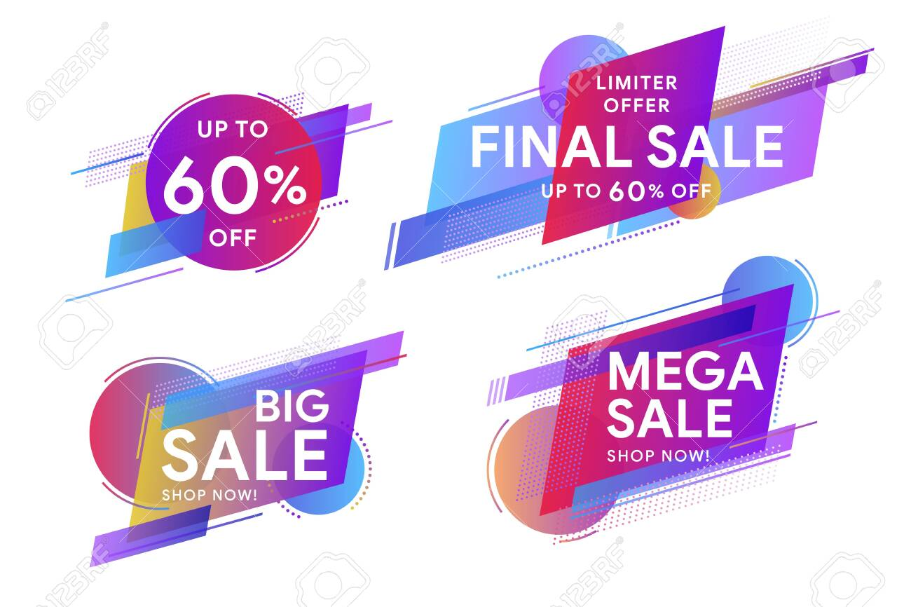 Set of colored stickers and sale banners. Discount up to 60% off. Trendy minimal design as template for cover, presentation, banner. Geometric colorful abstract shapes set for banner web, app. - 138964643