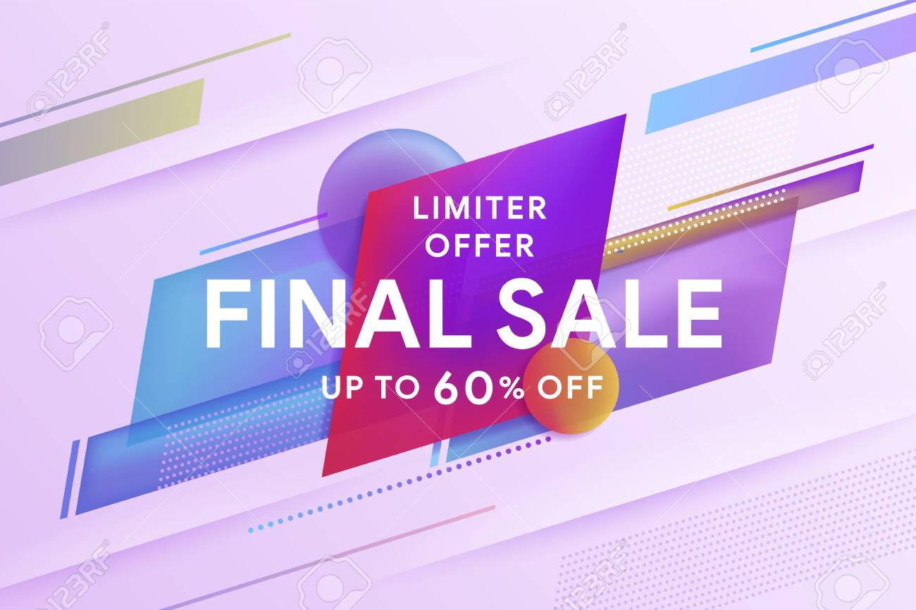 Final sale discount banner template promotion. Discount up to 60% off. Geometric colorful abstract shape set badge background for banner web, app, poster. Template for horizontal text. Vector image - 138964676
