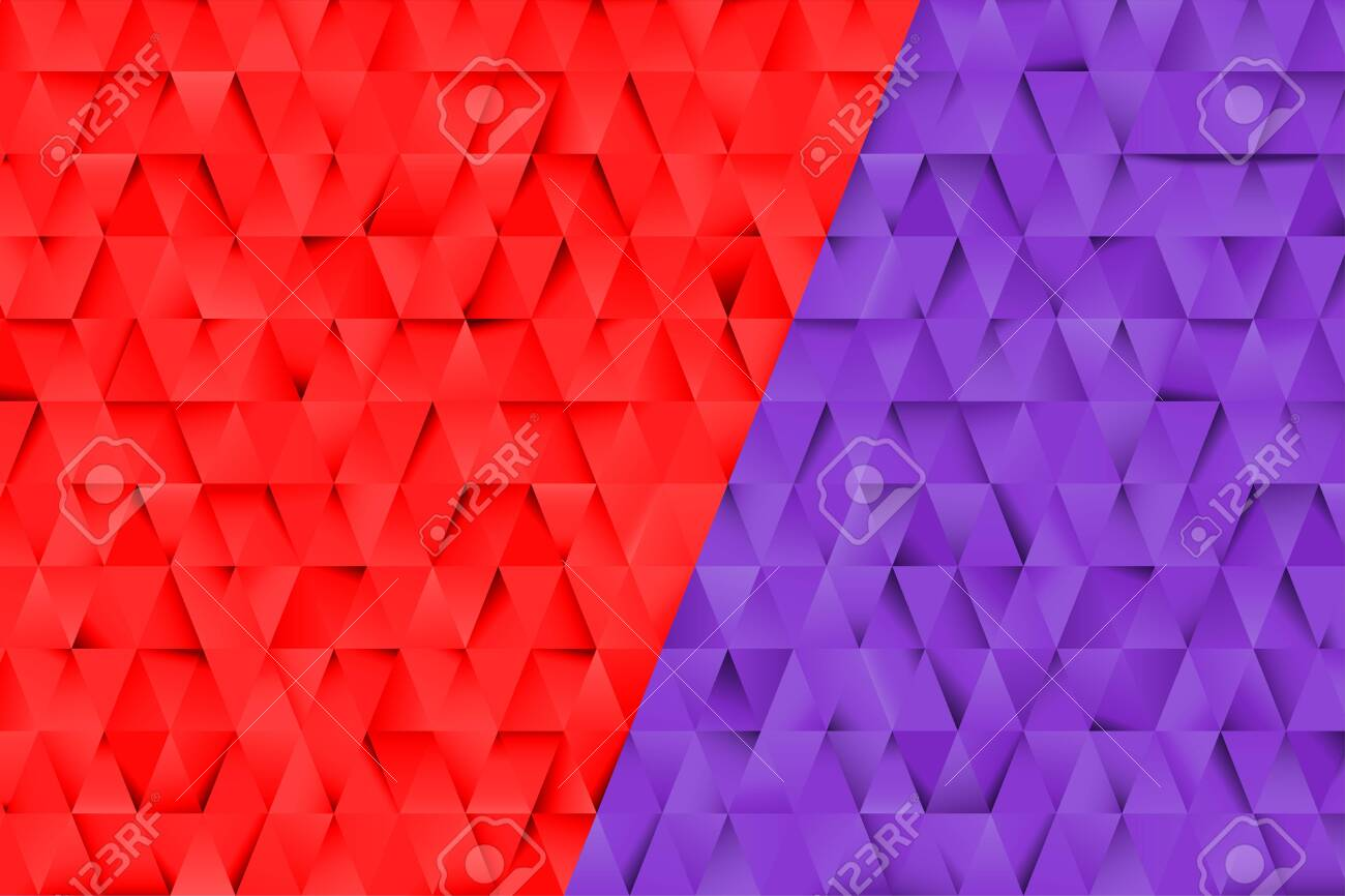 Red and Blue triangles abstract background. Business template for advertising, poster, business card and social networks. Small triangles with shadows. Design templates with copy space for text. - 138968987