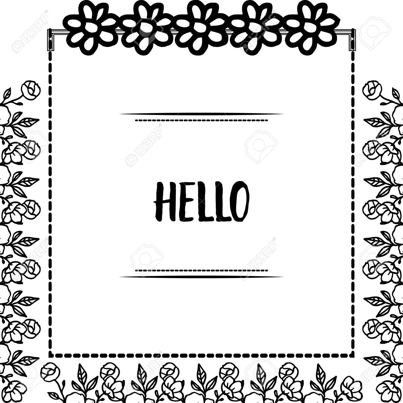 Hello greeting with floral frame - 144131231