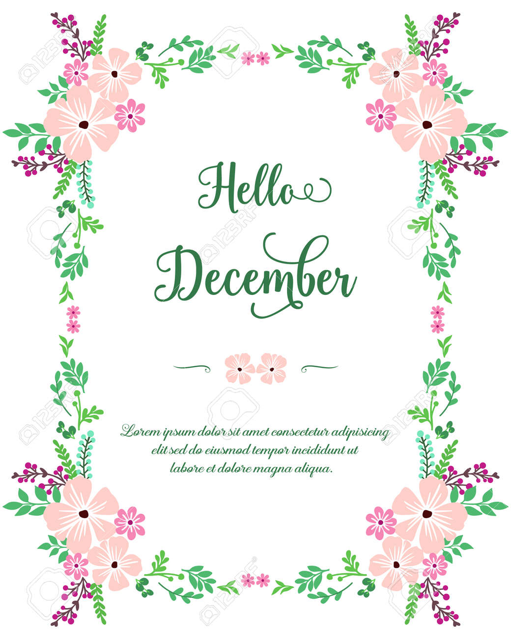 Hello December lettering with floral frame - 147137416