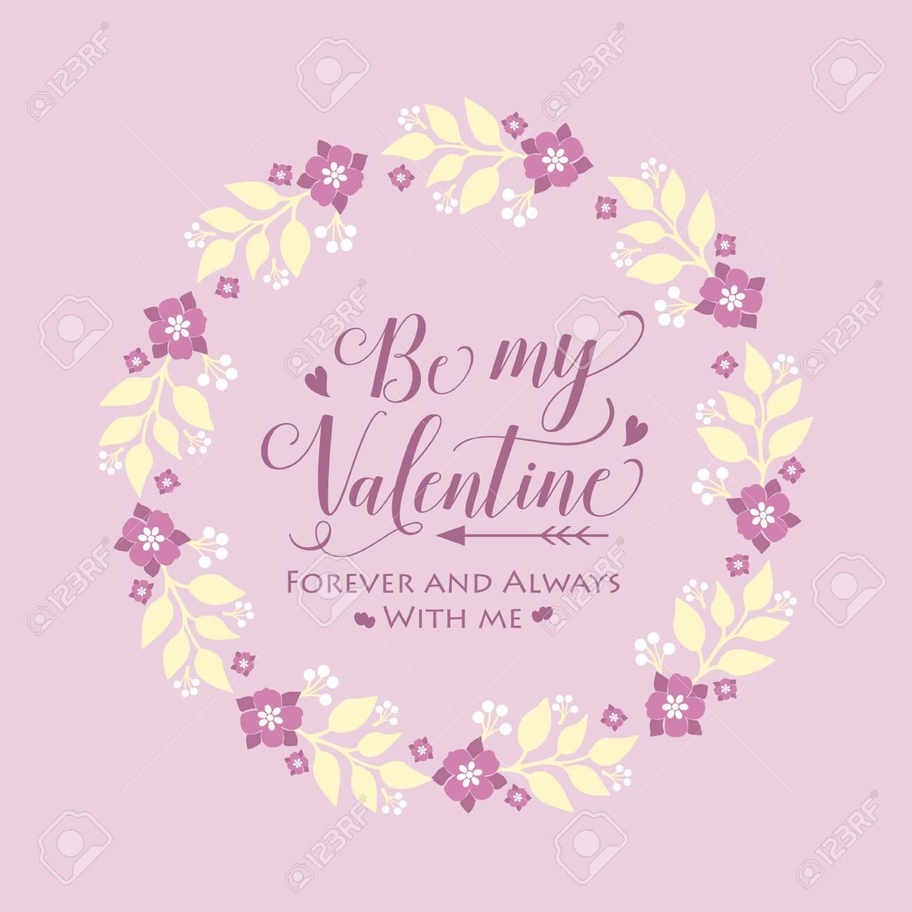 Pattern wallpaper of cards happy valentine, with pink floral frame decoration elegant.Vector illustration - 148989210