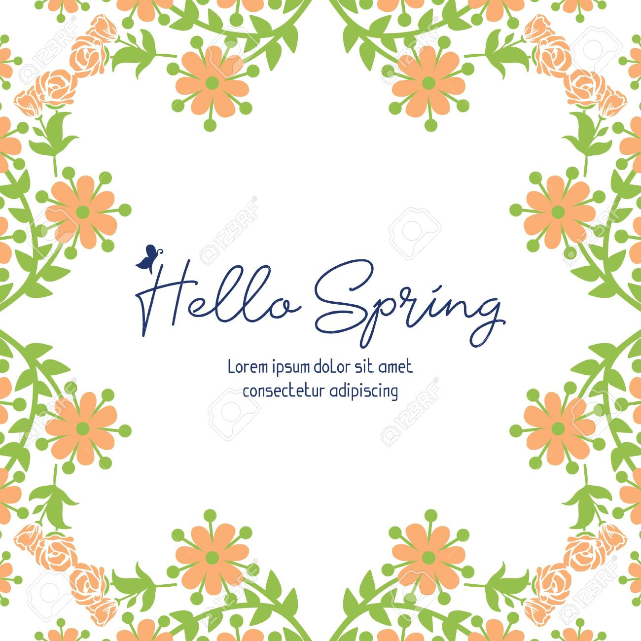 Hello Spring lettering with floral frame - 148331420