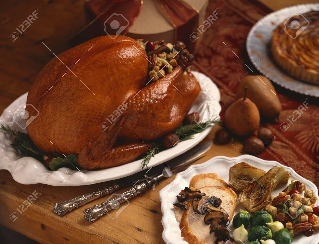 Stock Photo - Stuffed Roast Turkey. Sliced Turkey Dinner Plate & Stuffed Roast Turkey. Sliced Turkey Dinner Plate Stock Photo ...