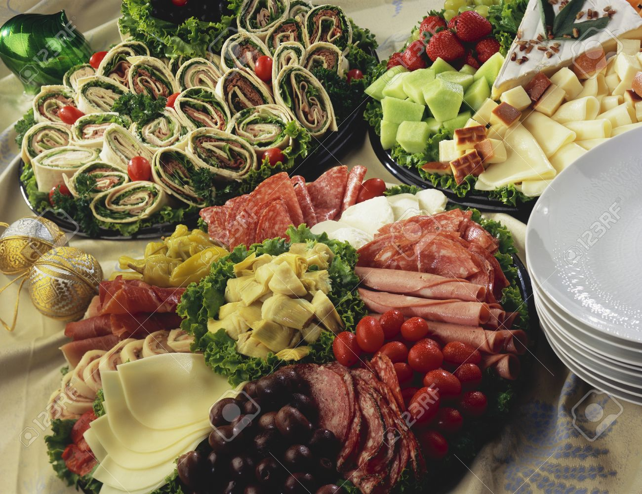 Cold Cuts Platter Cheese And Wraps Stock Photo