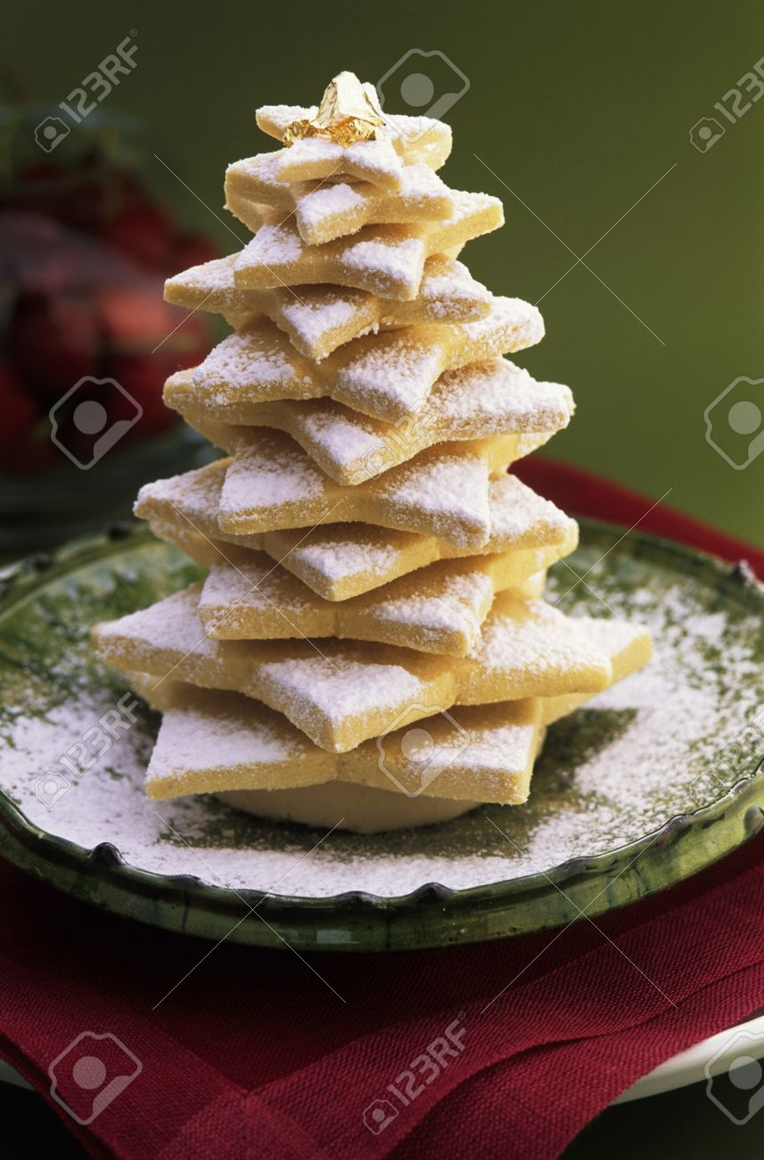 A Shortbread Christmas Tree With Icing Sugar Stock Photo, Picture ...