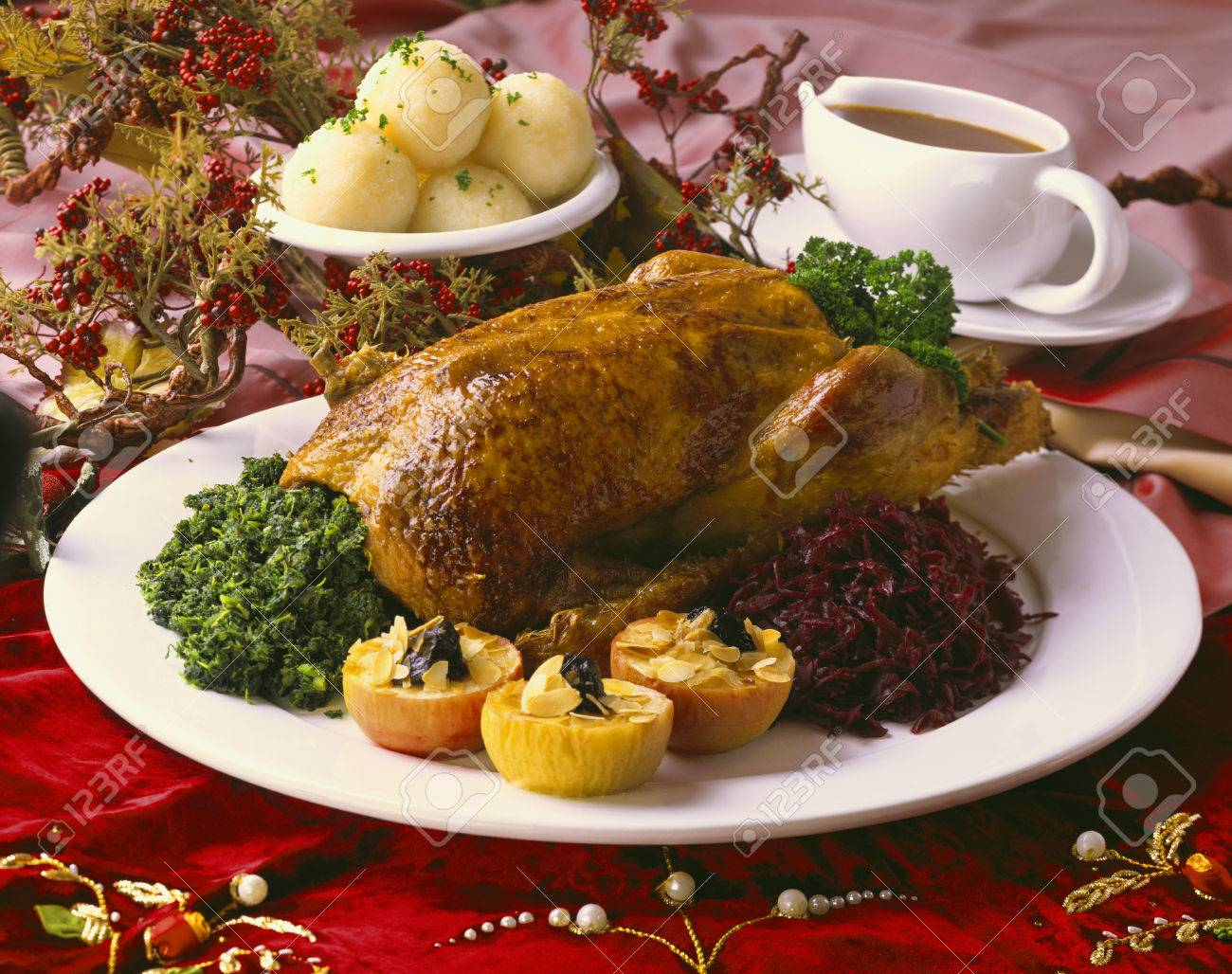Christmas goose with kale,