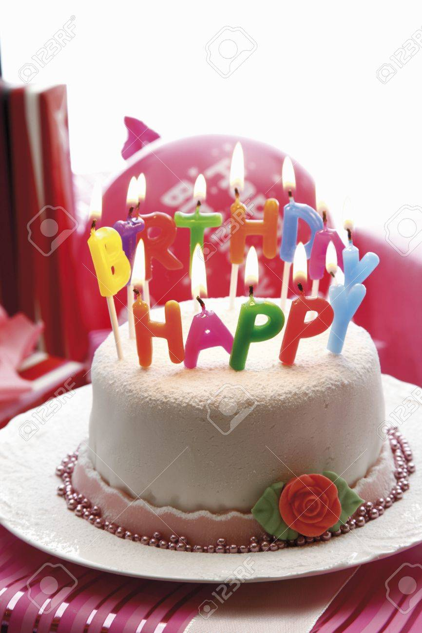birthday cake with letter candles stock photo 32300170