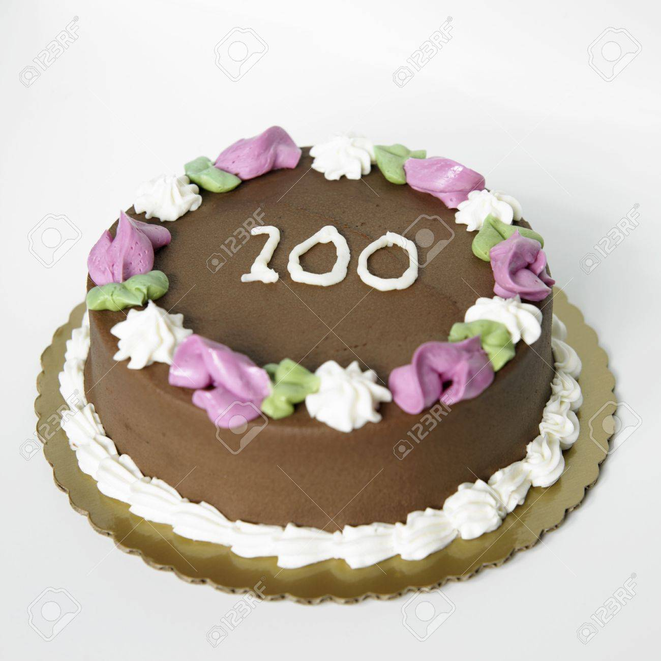 Chocolate Frosted Birthday Cake With The Number 100 On It Stock Photo