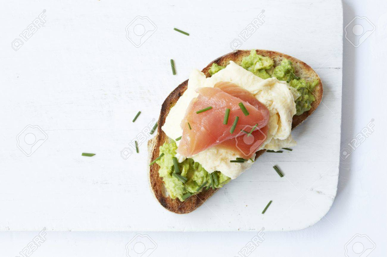 Sour Dough Bread With Avocado Cream, Scrambled Egg And Smoked ...