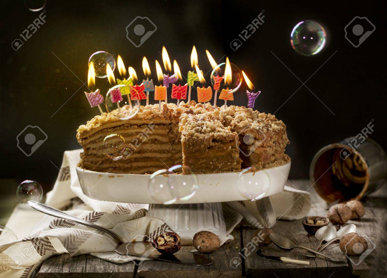 Awesome Birthday Honey Cake With Walnuts With Burning Candles And Soap Personalised Birthday Cards Sponlily Jamesorg