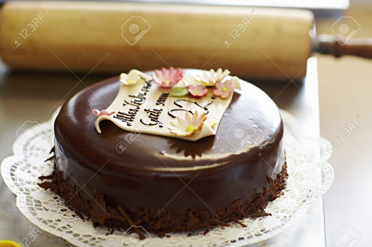 An Elegant Birthday Cake With A Message Stock Photo Picture And