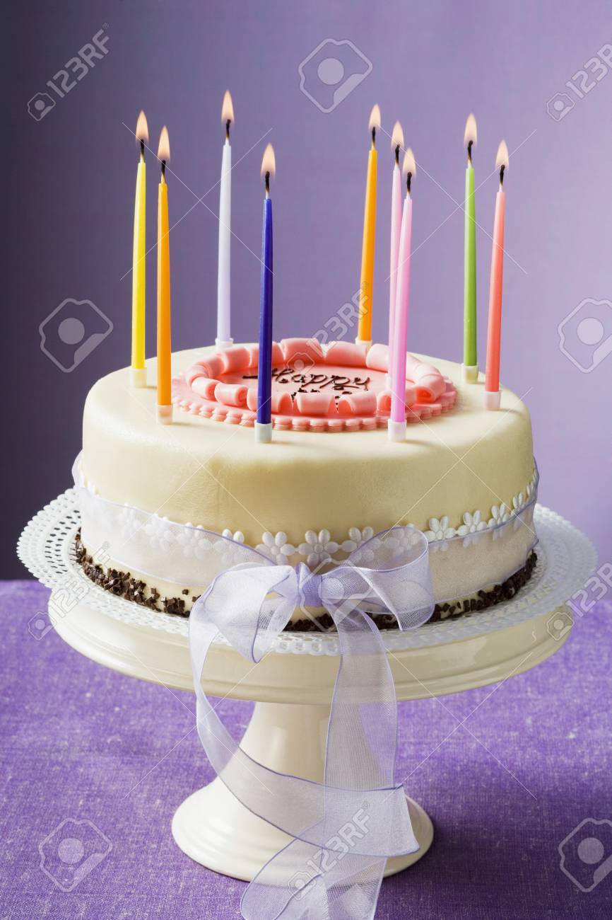 Birthday Cake With Burning Candles Stock Photo Picture And Royalty