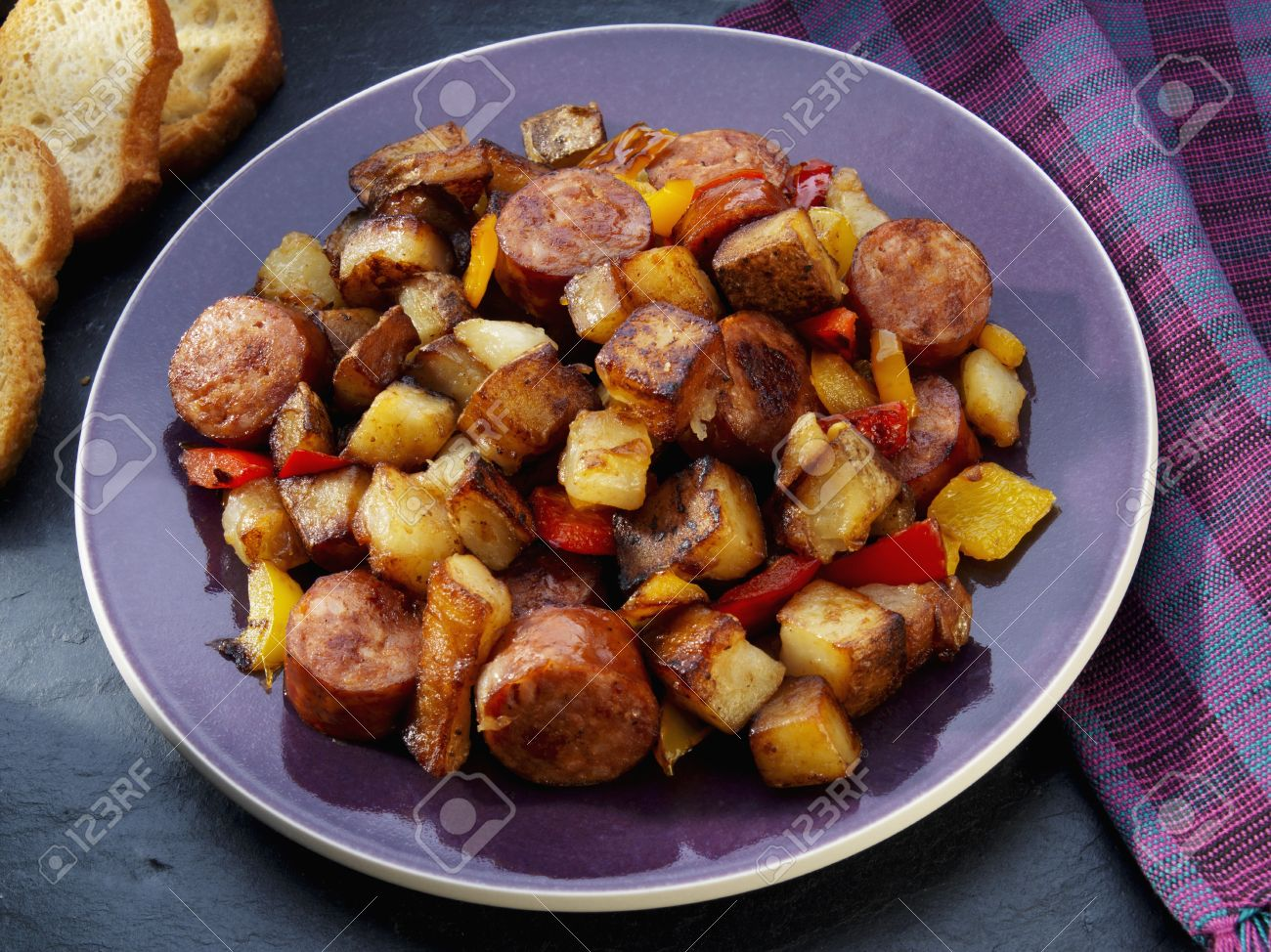 Fried Potatoes With Sausage Peppers And Onions Stock Photo 36549321