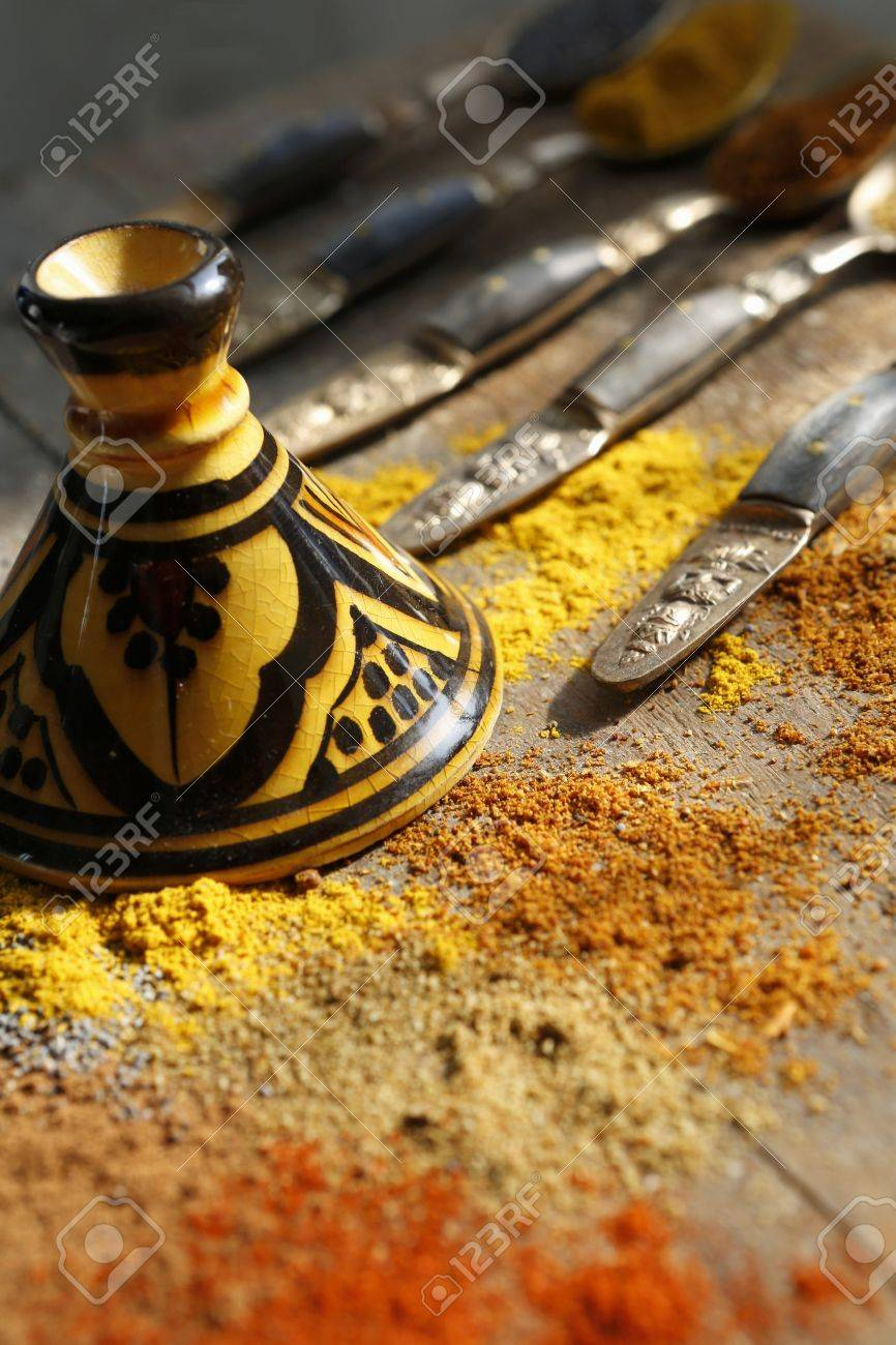 Stock Photo - Various spices and poppy seeds on a table with oriental tableware & Various Spices And Poppy Seeds On A Table With Oriental Tableware ...