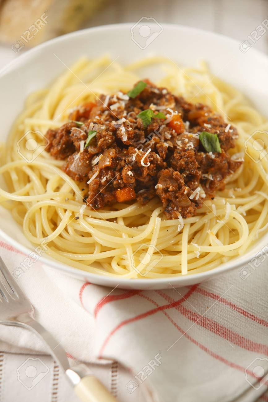 Spaghetti Alla Bolognese Pasta With A Meat Sauce Italy Stock