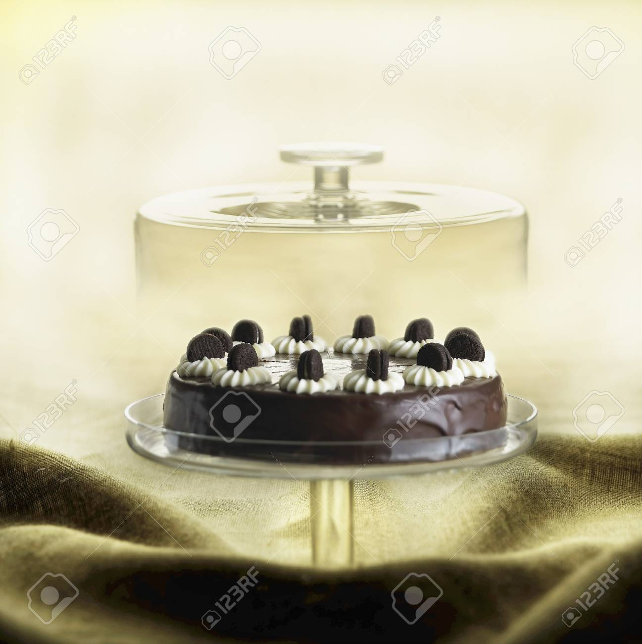 Oreo Cookie Chocolate Cake Under A Glass Cloche Stock Photo Picture