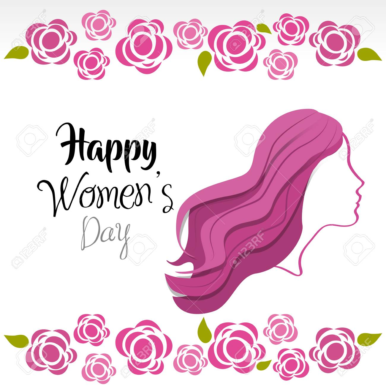 Cute Women Day Greeting Cards Icon Stock Vector