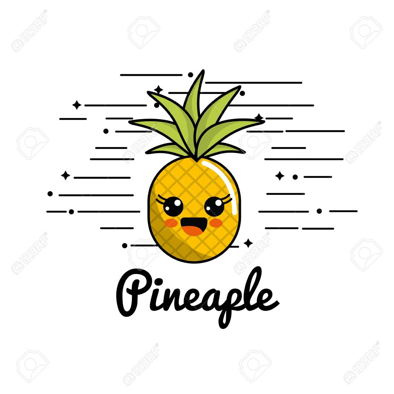 Cute Emblem Kawaii Happy Pineapple Icon