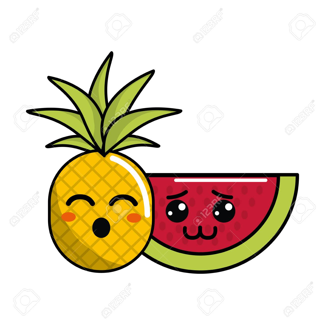 Cute Kawaii Funny Pineapple And Shy Watermelon Icon Stock Vector