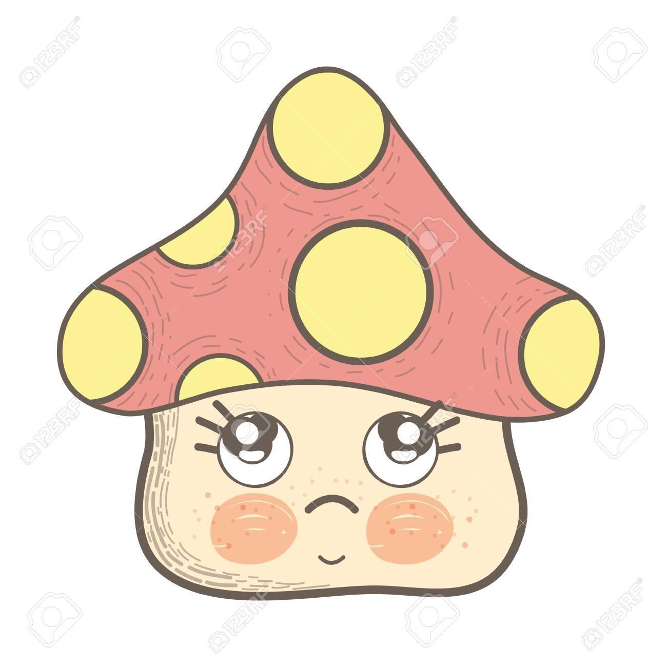 かわいい菌悲しいかわいい頬と目のイラストのイラスト素材ベクタ