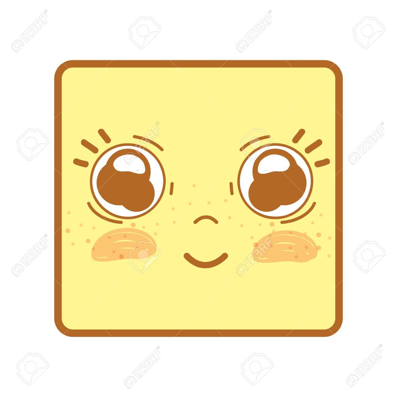 幸せそうな顔かわいいかわいい目と頬のイラストのイラスト素材ベクタ