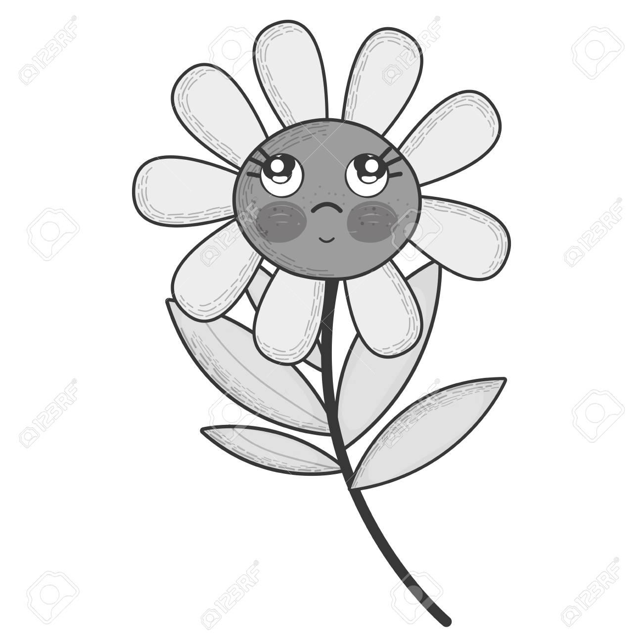 頬と目で考えるグレースケールかわいい花植物のイラストのイラスト素材