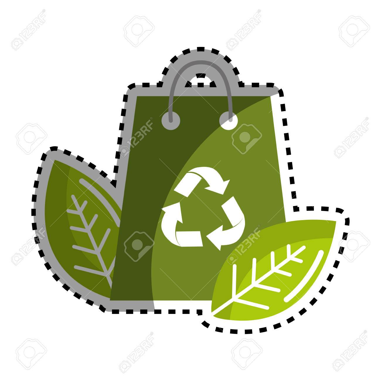 Sticker Green Bag With Recycling Symbol And Leaves Royalty Free