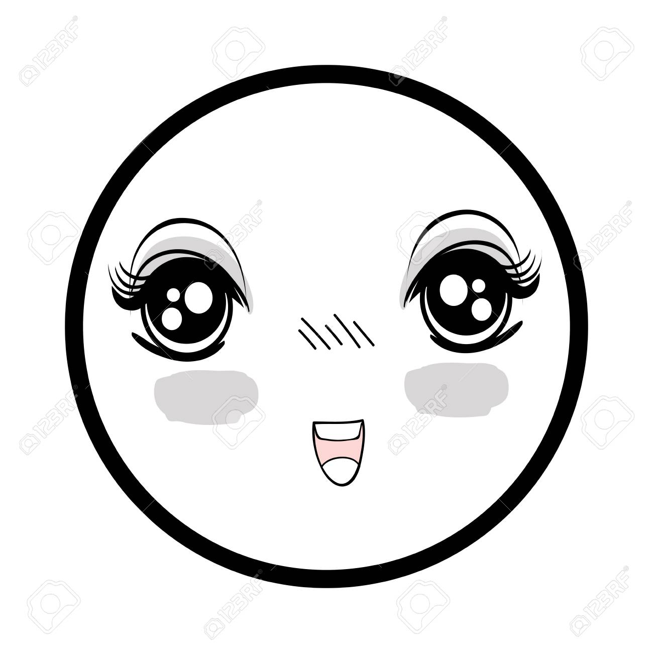 Symbol anime surprised happy face woman stock vector 77193529