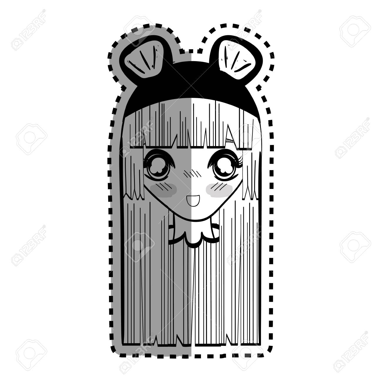 Sticker anime nice surprised woman with costume stock vector 77193551