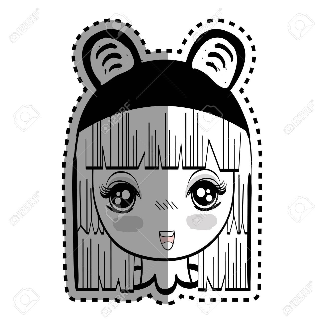 Sticker anime nice tender woman with costume stock vector 77193552