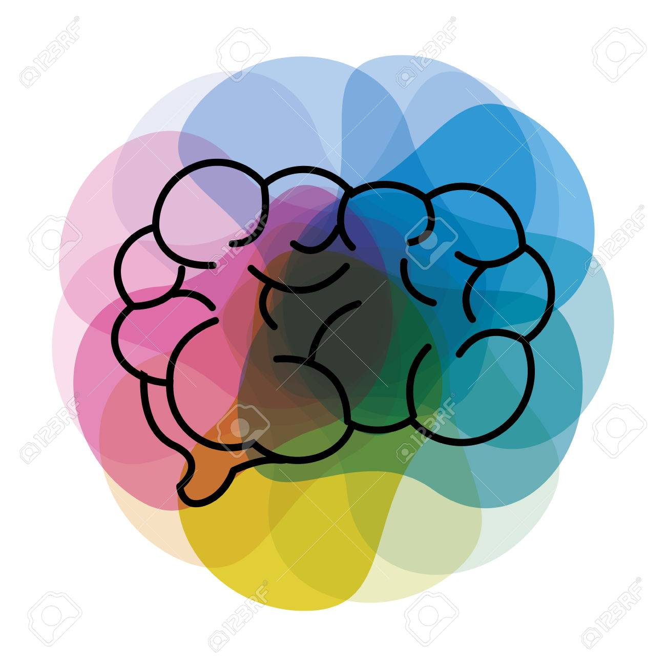Watercolor Mental Health Brain Art Icon Royalty Free Cliparts Vectors And Stock Illustration Image 77229891