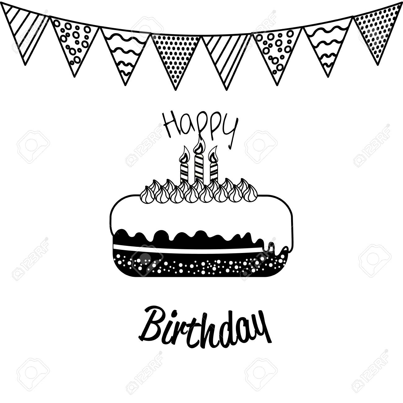 Happy Birthday Decoration With Cake And Candles Royalty Free