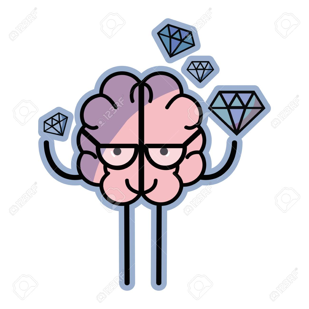 Icono Cerebro Adorable Con Un Montón De Diamantes Ilustraciones ...