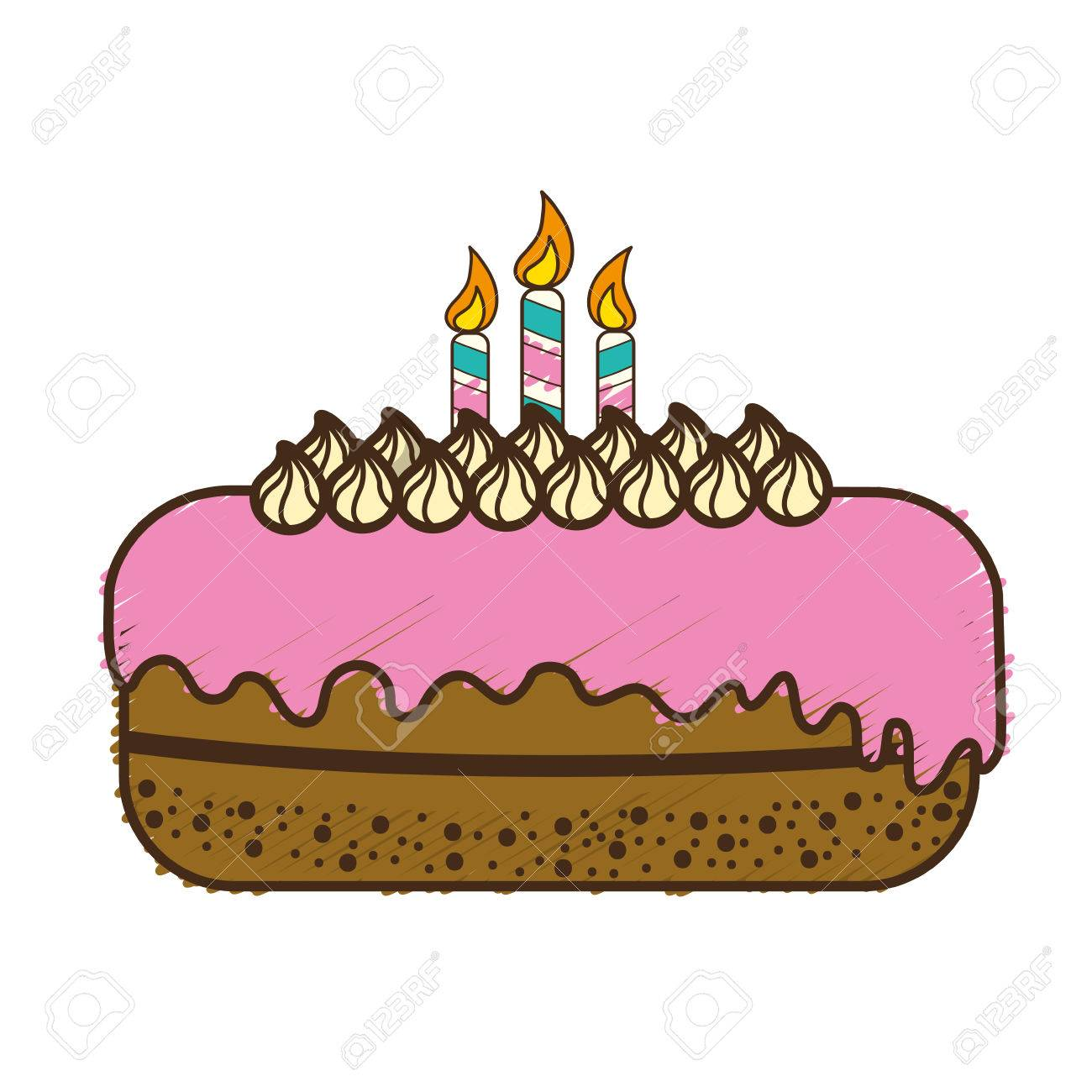 Delicious Pastel With Candles To Happy Birthday Vector Illustration Stock