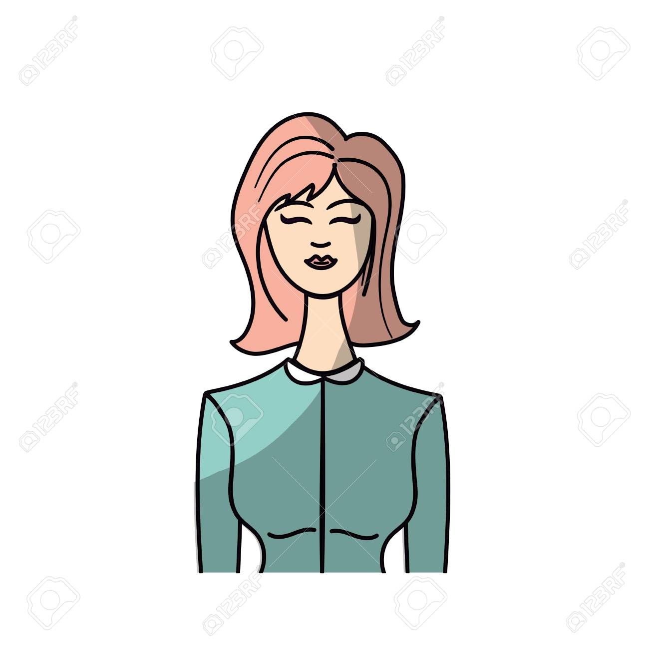 かわいい女性の髪型とエレガントなブラウスは、ベクトル イラスト