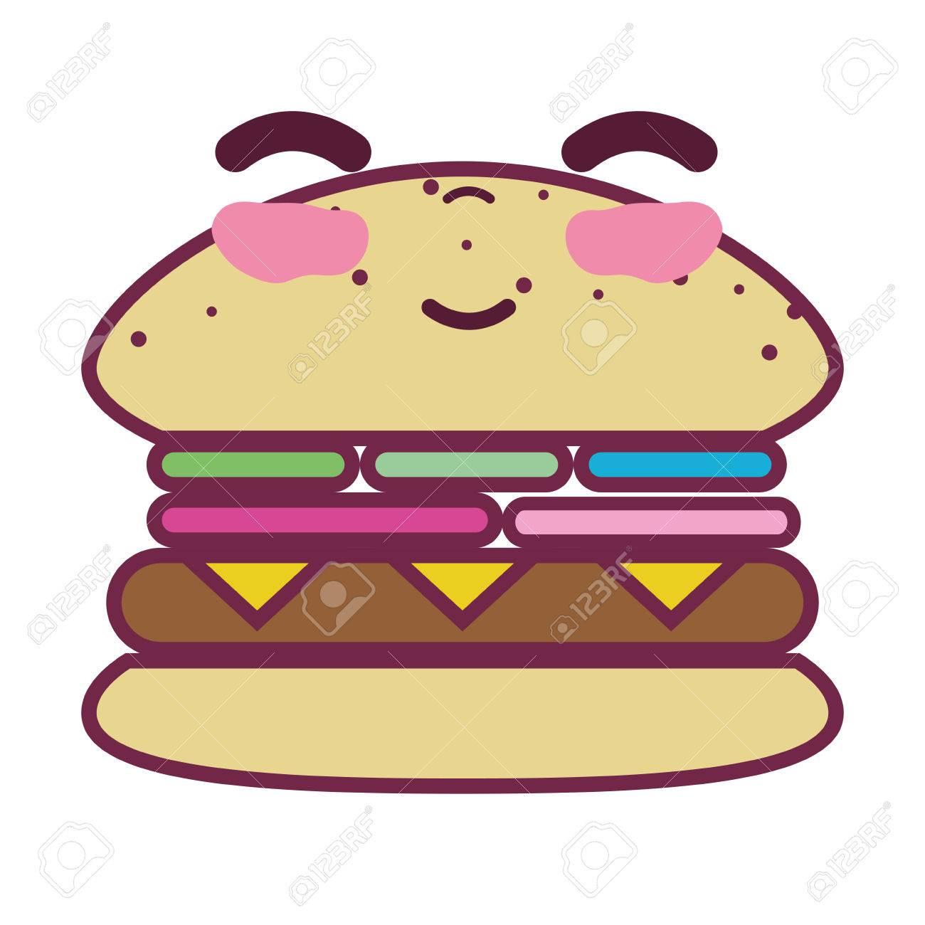 かわいいハッピー ハンバーガー食品のイラスト素材ベクタ Image