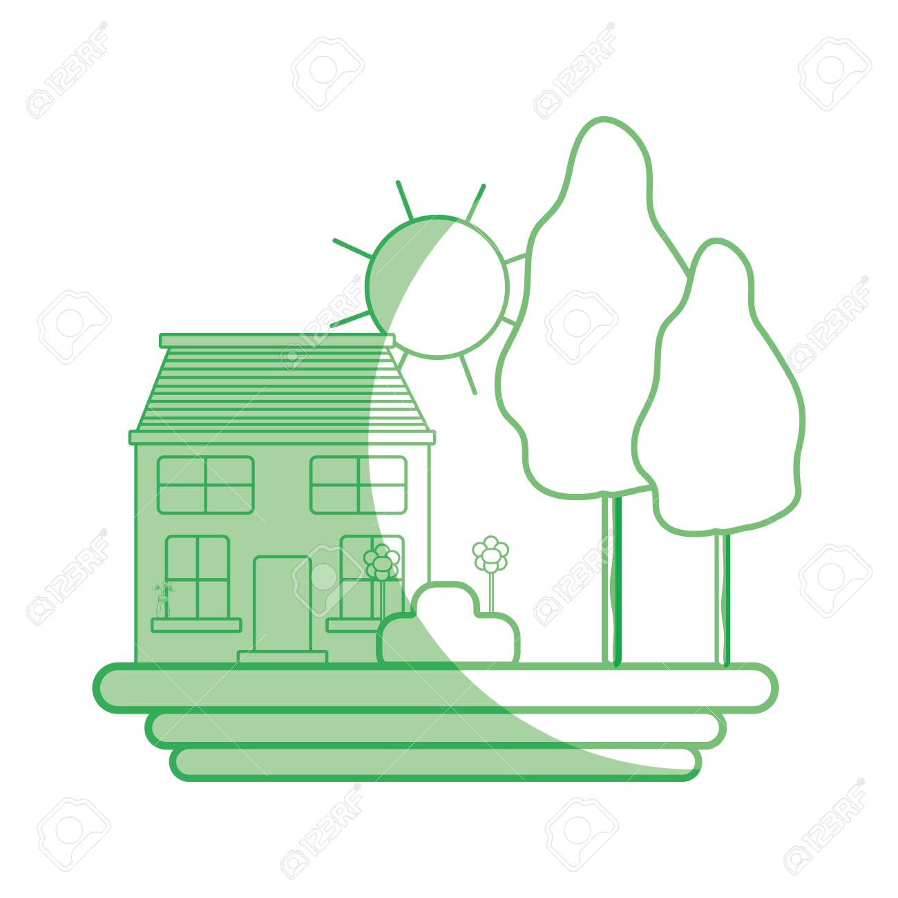 Silhouette House With Trees And Plant With Flowers And Sun Royalty ...
