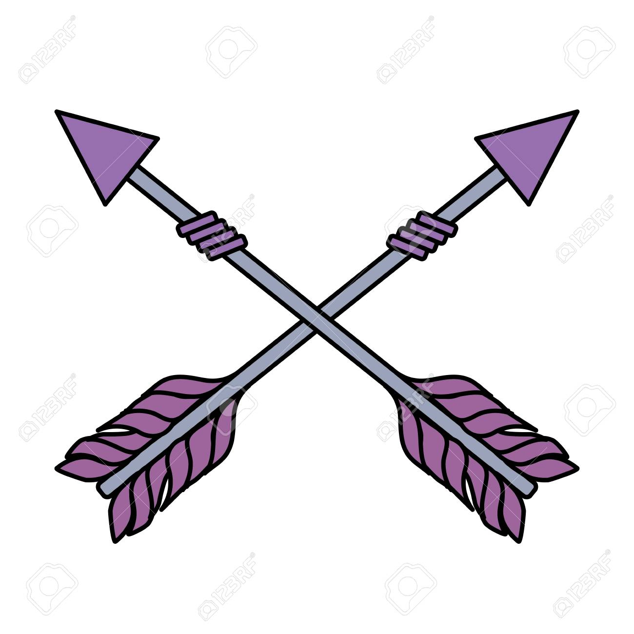 Rustic Arrows With Ornamental Design Stock Vector
