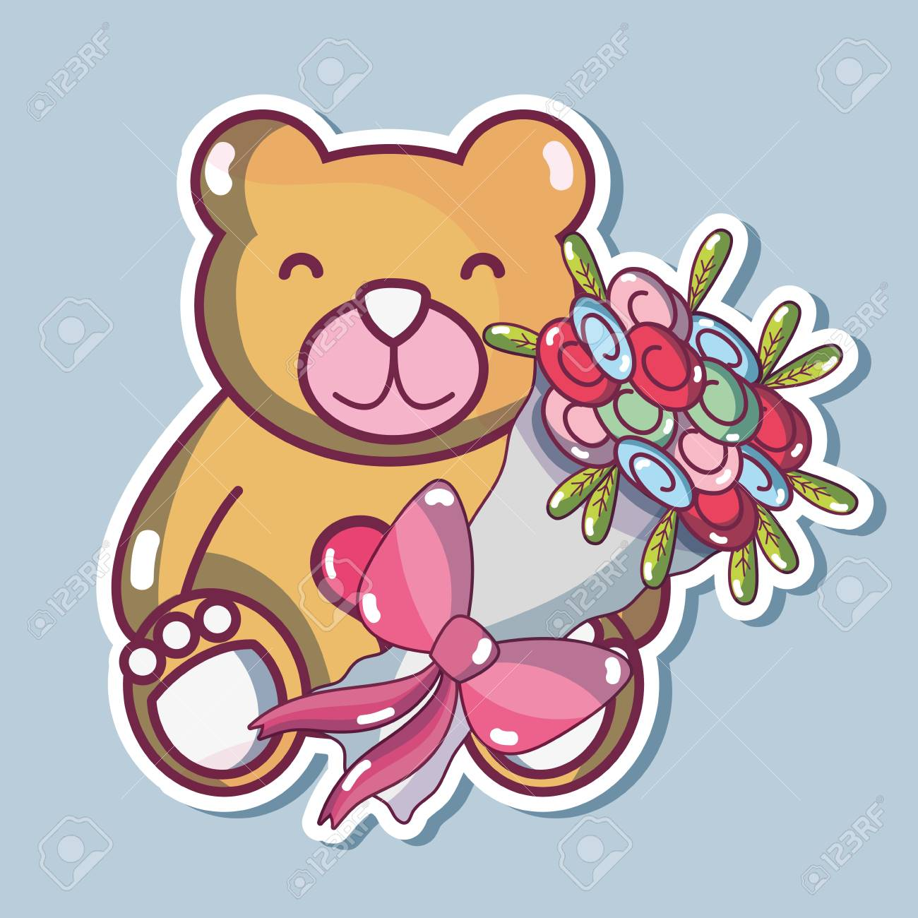 Teddy Bear Design With Bouquet Flowers Royalty Free Cliparts