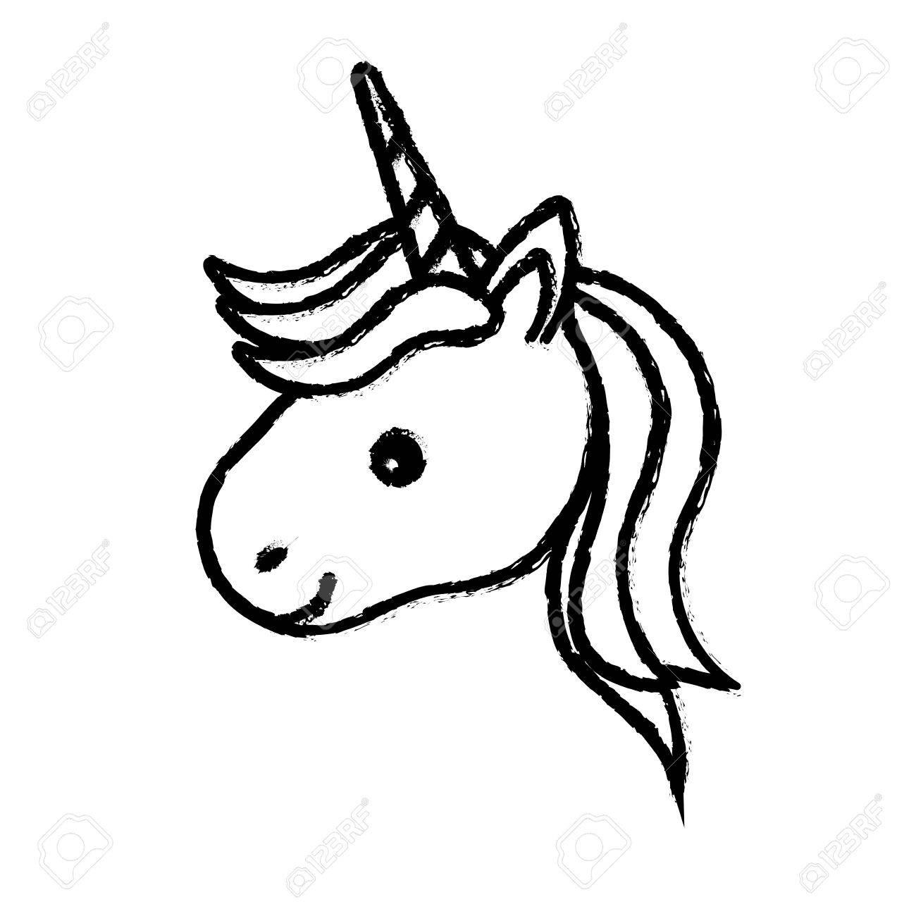 Figura Linda Cabeza De Unicornio Con Cuerno Y Peinado Ilustración Vectorial