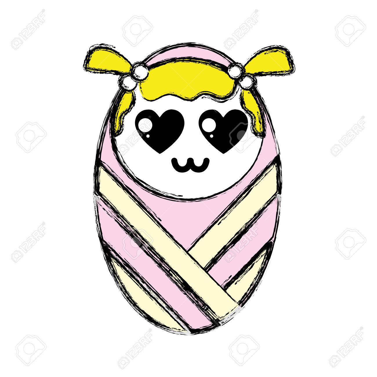 毛布に包まれた髪型でかわいい女の子の漫画イラストのイラスト素材